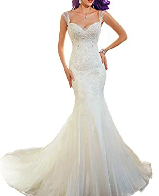 AbaoWedding 2015 Women's Sleeveless Mermaid Wedding Dress Long Ivory