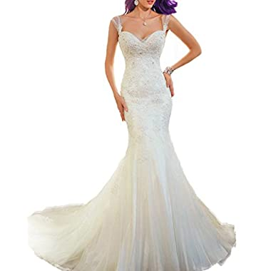 AbaoWedding Women's Sleeveless Mermaid Wedding Dress Long White (size16)