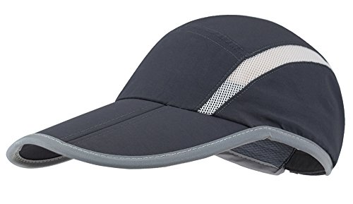 Lenikis Unisex Sun Protection Hat Foldable & Adjustable Baseball Cap Sports Mesh Hat for Golf Cycling Running Fishing Outdoor Activities Dark Grey