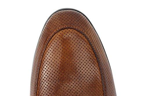 Pour Homme Marron Vintage mod 2pompons à franges Flâneur Chaussures à enfiler en cuir véritable Perforé