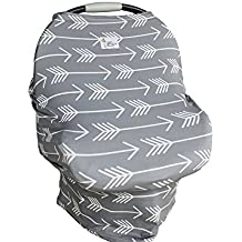 BEST SELLING- SOFT & BREATHABLE 4 in 1 Stretchy Baby Carseat Cover Canopy   Nursing Cover   Shopping Cart Cover   Infinity Scarf (Gray Arrows) Includes Drawstring Carry Bag- Baby Shower Gift