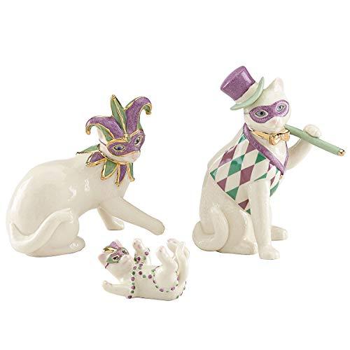 Lenox Cat Family Mardi Gras Masks Costume New Orleans Figurine 3 Piece Figurine Kitten Party Set -
