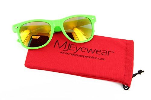 MJ Eyewear Neon Retro Sunglasses Color Mirror Lens (Green, Color Mirror - Sunglasses Green Neon