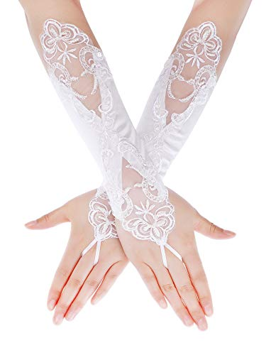 SATINIOR Ladies Lace Gloves Elegant Short Gloves Courtesy Summer Gloves for Wedding Dinner Parties (White 7)