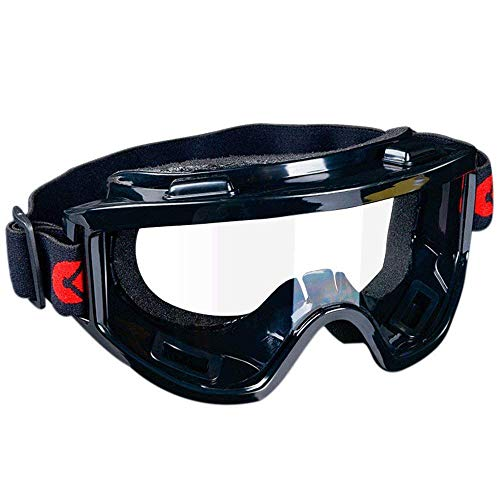 TOMYEUS Goggles Eye Protection Glasses Tactical Paintball Wind Dust Dual Scratch-Resistant Goggles Unisex Safety, Anti-Fog Clear Lens, Black