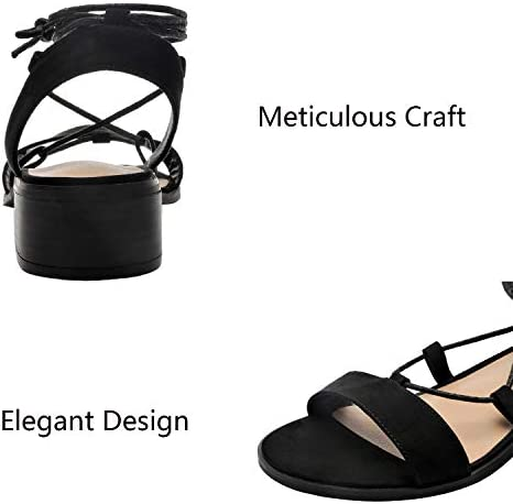 Women's Wide Width Heeled Sandals Comfortable Lace up Fringed Tassel Ankle Strap Suede Dress Summer Shoes.