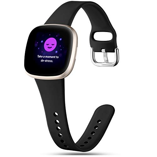 Getino Slim Bands Compatible with Fitbit Sense Bands and Fitbit Versa 3 Bands, Waterproof Durable and Flexible Replacement Silicone Strap, Thin Narrow Wristbands for Women Men, Small Black