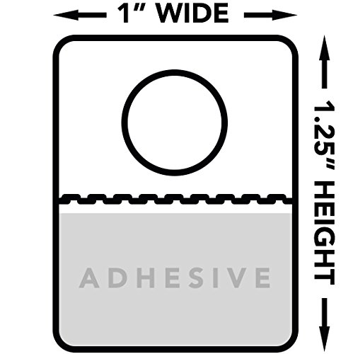 """Hang Tabs for Store Display, Round Hole   Foldable, Clear Plastic Retail Adhesive Hang Tags   Size 1"""" x 1.25"""", 500 (Hook Tabs)"""