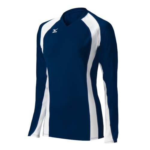 Mizuno Women's Volleyball Techno Volley V Long Sleeve Jersey, Navy/White, X-Small Mizuno Stretch Jersey