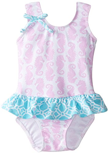 Flap Happy Baby Girls' Serena Contrast Swimsuit with Contrast Ruffle Skirt, Seahorse Parade, 12 Months