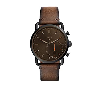 Fossil Men's Brown Leather Strap Hybrid Smart Watch