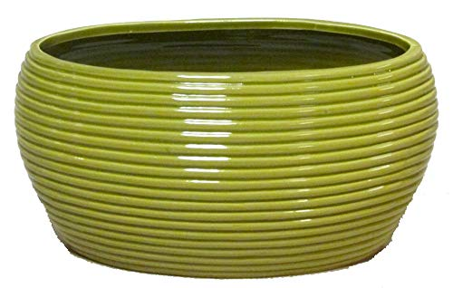 Admired By Nature Glazed Lime Green Oval Pot w/Horizontal Line Indents