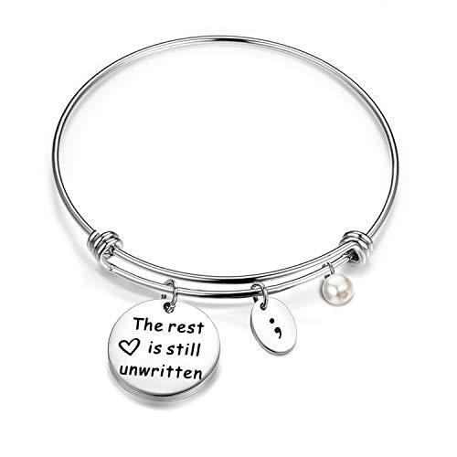 bobauna The Rest is Still Unwritten Semicolon Bracelet Mental Health Suicide Awareness Inspirational Jewelry (Rest Unwritten Bracelet)