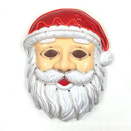 callm Santa Claus Mask, Christmas LED Mask Glowing Cold Light Mask Creative Santa Claus Role Playing Party Decoratio (A)