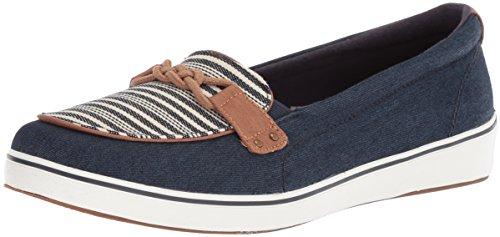 Flat Stripe Shoe Blue Navy (Grasshoppers Women's Windham Stripe Sneaker, Peacoat Navy, 5.5 M US)
