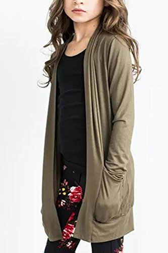 Girls Long Sleeve Cardigan Lightweight Floral Kimono Cover Ups Coat Elbow Patch Tops with Pockets 2