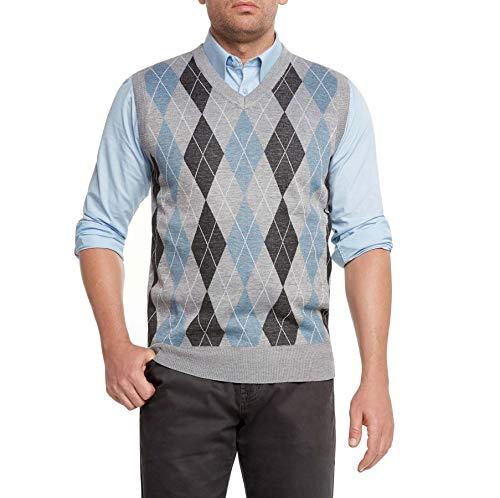 Preppy Blue Plaid - True Rock Men's Argyle V-Neck Sweater Vest-Heather Gray/Blk/Blue-XL