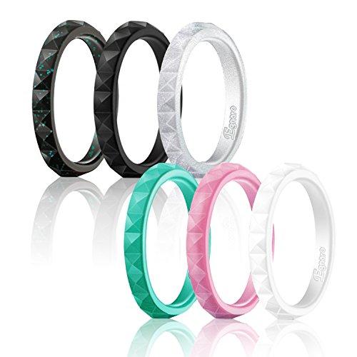 Egnaro Silicone Wedding Rings For Women,Diamond Pattern-6 Rings Pack - Glitter Black,Turquoise,White,Silver,Pink,Black