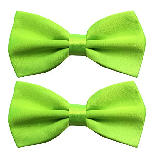 Pre-tied Satin Bow Tie with Adjustable Neck Band, Handmade Bowties Packed with Gift Box by Twins Trade (Apple Green, 2) ()