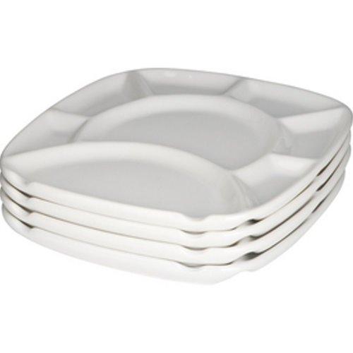 Trudeau White Stoneware Square Fondue Plates - Set of ()