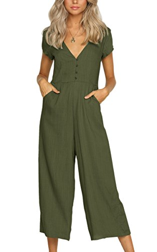 Button Front Jumpsuit - ECOWISH Womens Button Jumpsuits Sexy Deep V Neck Short Sleeves High Waist Wide Leg Jumpsuit Rompers with Pockets Green S