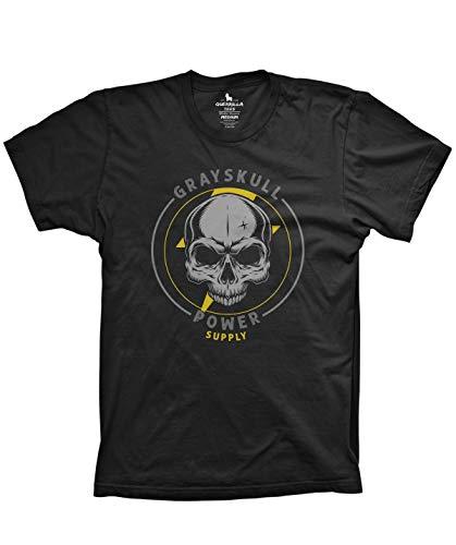 Gray Skull Power Supply Tshirt Funny Retro Cartoon Tshirts, Large