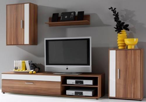 2 2 1 4 833 Tv Wand Wohnwand Tv Mobel Walnuss Weiss Dekor