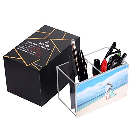 MEHE Acrylic Pen Holder,Picture Frame 6x 4Magnetic Photo Display,Desktop Stationery Office Accessory [Gift Box Package]
