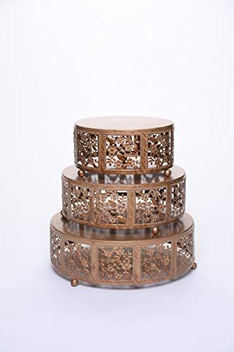 Opulent Treasures Cake Stand, Round Cherry Blossom Metal Cupcake Dessert Display Plates, Set of 3 (Gold)