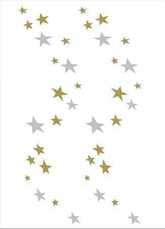 Tatuajes temporales de estrellas doradas y plateadas, para hombre ...