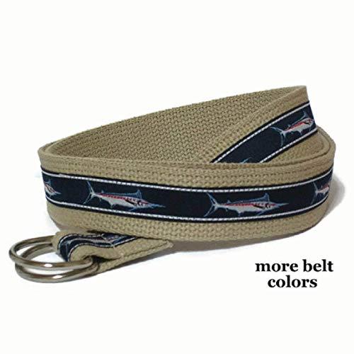 Mens Belt/Canvas Belt/Navy Fish D-Ring Belt/Khaki Ribbon Belt for Men Teens Big and Tall Men - Marlin Sailfish in navy sizes xs to Big and Tall ()