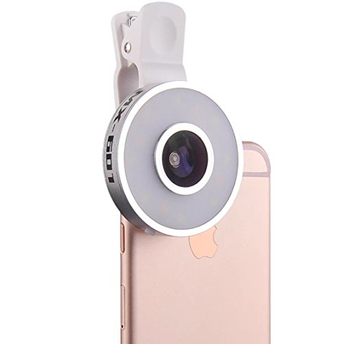 Cyxus [3 Adjustable Brightness] Selfie Fill LED Light (Clip-on) Night Portable Mini Spot Flash Spotlight for Any Cell Phone (Apple iPhone 6s/6 Plus) Fisheye/Macro/Wide (Macros Spot)