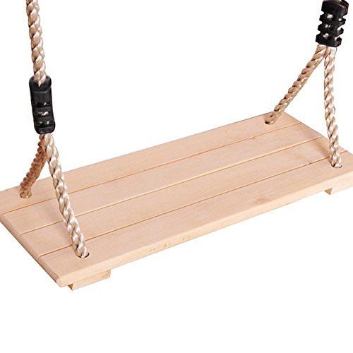 PROKTH Wood Swing Hanging Wooden Tree Swings Polished Four-Board Anti-Corrosion Wood Swing Pastoral Wooden Swing for Children Adults Outdoor Indoor