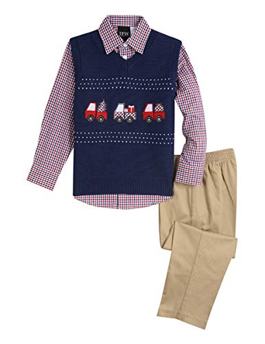 TFW Dresswear Little Boys' Sweater Vest Set, Midnight Trucks, 5