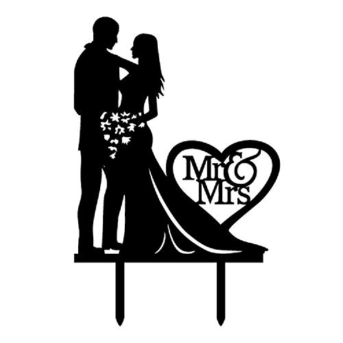 Mr And Mrs Cake Topper Heart Love Acrylic Couple Engagement Bridal Shower - Toppers Black Cake Wedding