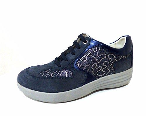 Stonefly 108130 Romy 3 sneakers donna scarpe sportive blu con zeppa e stringhe
