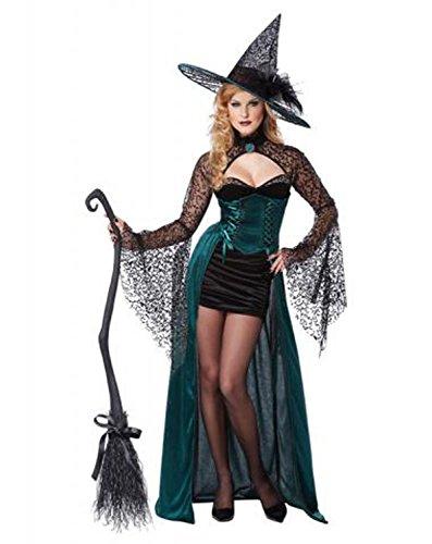 [Maimai Women's Enchantress Sexy Witch Long Dress Costume Black/GreenLarge Sexy Style] (40s Nurse Costume)