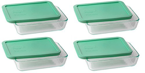 Pyrex 3-cup Rectangle Glass Food Storage Set Container (Pack of 4 -