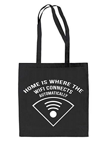 Home is where Wifi Jutebeutel Black