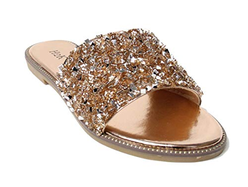 - H2K Womens Glitter Bling Jewel Stone Fancy Slide Flat Low Wedge Sandals Shoes Dream (9 B(M) US, Rose Gold)