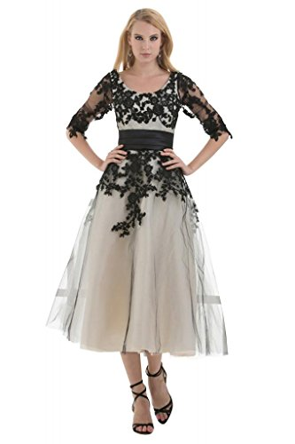 Halb aermel BRIDE GEORGE Kleid Tee Stickereien mit Laenge Tuell Schwarz RHIRWSxnU