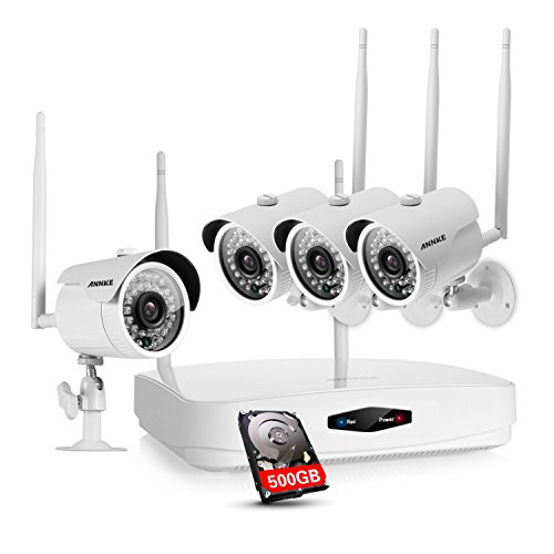 nd (4) 1.0MP Wireless Security Cameras, 500GB HDD Pre-installed, 720p Smart Outdoor IP Cameras with 100ft Night Vision, IP66 Weatherproof ()