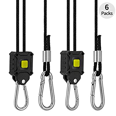 VIVOSUN 6-Pair 1/8 Inch 8-Feet Long Adjustable Heavy Duty Rope Clip Hanger, Quick Adjust Design, Reinforced Metal Internal Gears, 150lb Capacity : Garden & Outdoor