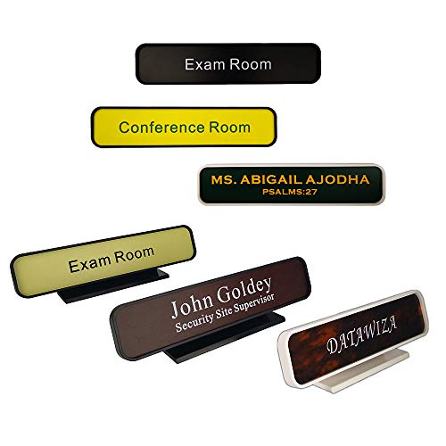 Personalized Architectural Name Plates, Office Nameplates with Wall or Desk Plastic Frame Holder, Customize Office Deskbar Nameplate or Door Signs (2