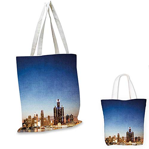 Michigan Messenger (Detroit Decor canvas messenger bag Michigan Skyline at Twilight Waterfront Lively City Serene Travel Destination canvas lunch bag Multicolor. 12