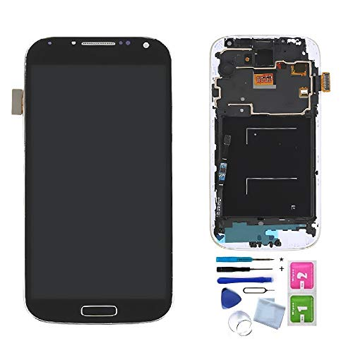 XRmarket Compatible Samsung Galaxy S4 Screen Replacement, LCD Display Touch Digitizer Assembly, Compatible with SCH-i545 SPH-L720 SCH-R970, with Install Tools (Black W/Frame)