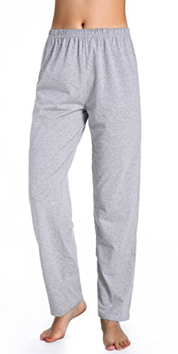 - Chamllymers Womens Cotton Sleep Pants Long Lounge Pant Without Pockets Grey L
