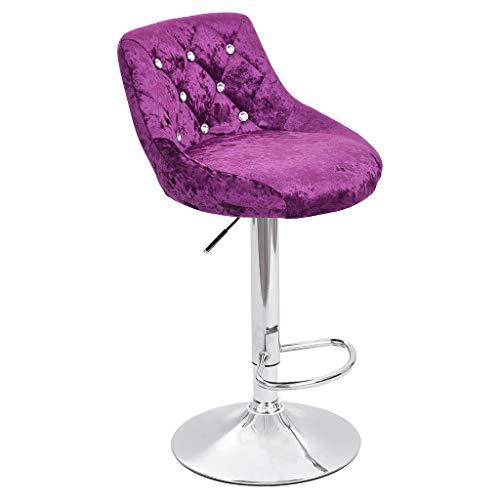 Adjustable 360° Swivel Bar Barstools Stylish Rhinestones Flannel Armless Chrome Base Kitchen Bar Chairs Lift Counter Stools (Set of 2) Purple/Beige URIBAKE (Purple) (Set Stool Chair Recliner And)