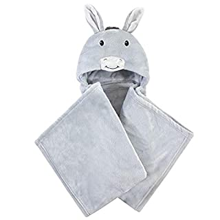 Hudson Baby Unisex Baby and Toddler Hooded Animal Face Plush Blanket, Donkey, One Size