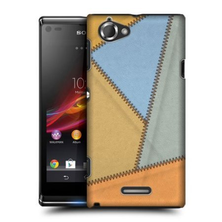 Head Case Sunrise Leather Patched Up Back Case Cover For Sony Xperia L C2105